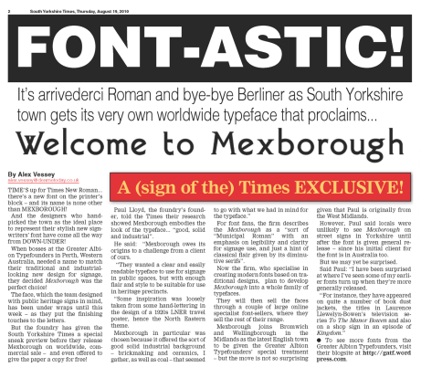 fonts welcome to mexborough